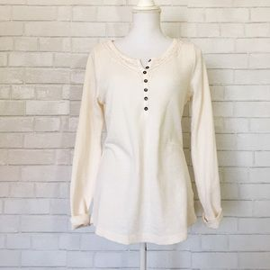 Sonoma Cream & Lace Henley Thermal Top